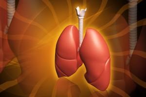 Ilustración de pulmones en 3D en fondo amarillo oscuro