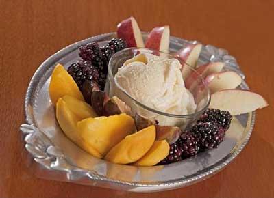 Postre light coctel de fruta con helado  de california, ingredientes, preparación, Información nutrimental,