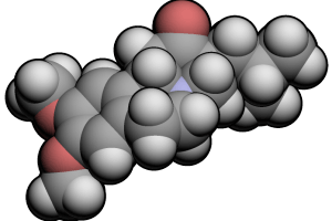 Modelo 3D de la mólecula Tetrabenazina (C19H27N1O3)