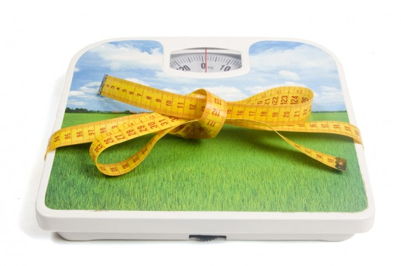 weight scale with a measure tape as a ribbon