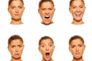 Seis rostros con diferentes emociones