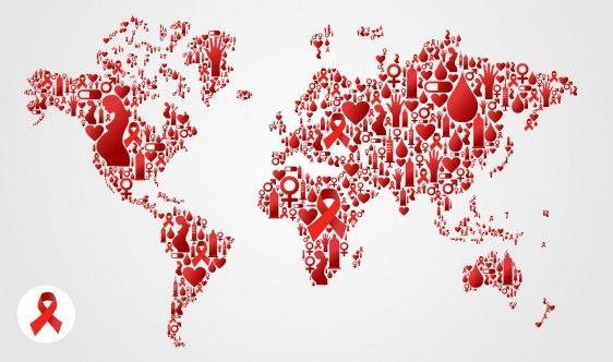Mapa del mundo con iconos rojos mujer embarazada, moño, corazón