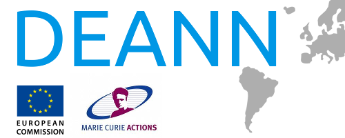 Letras DEANN con bandera europea y logotipo de Marie-Curie Actions