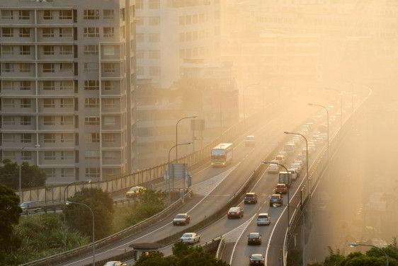 Avenida en una ciudad con coches y humo
