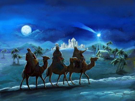 eyes magos en sus camellos en una noche caminando siguiendo una estrellla