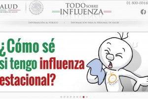 Captura de pantalla de la página www.todosobreinfluenza.salud.gob.mx