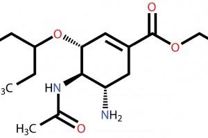 Formula estructural del Oseltamivir (medicamento antiviral Tamiflu)