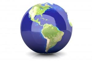 globo terraque observando el contninente americano en un fondo blanco