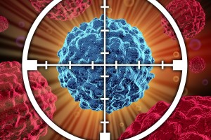 Representación 3D de celula de cáncer centrado en una mira