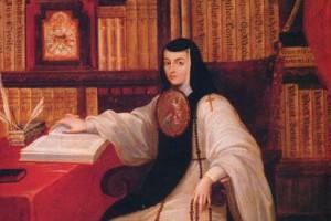 Pintura con Sor Juana Inés de la Cruz sentada con un libro y un rosario teniendo un librero en el fondo