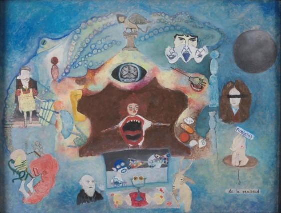 Fondo azul con iconos de diversos elementos imaginarios