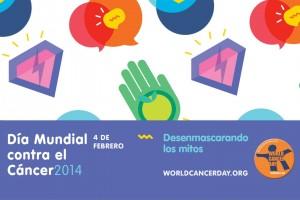 Texto día mundial contra el cáncer y logotipos