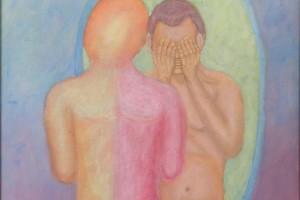 Siluta de persona mirándose en un espejo