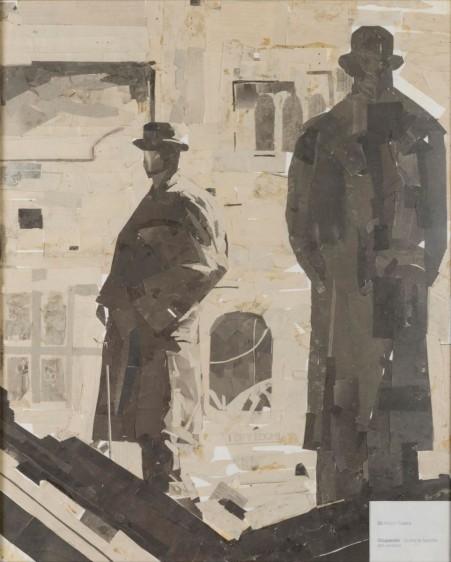 silueta de dos personas en colo gris con sibreros de bombin y una construcción en el fondo de colo beige
