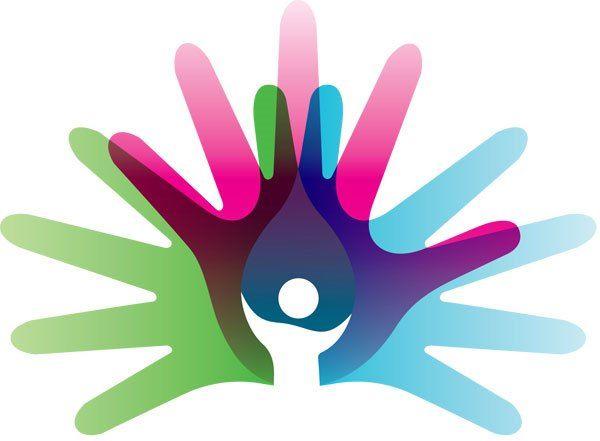 Dibujo de huellas de manos en colores