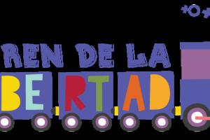 """Dibujo de un tren con titulo """"El tren de la"""" y un tren con vagones que contienen la palabra """"libertad"""""""