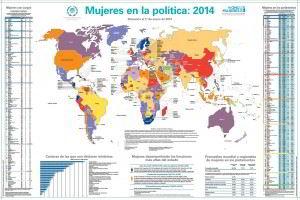 Mapa del mundo con cifras de mujeres en política