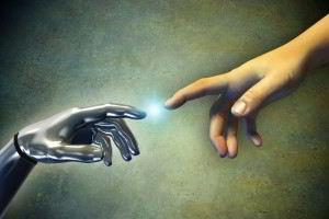 Mano de robot tocando una mano humana