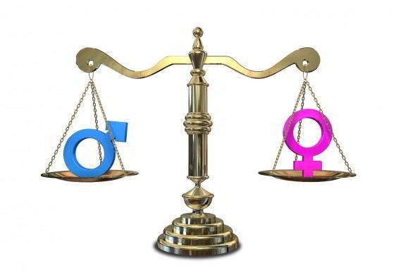 Balanza con el simbolo de mujer y hombre en cada lado