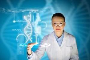 Mujer con bata blanca y un concepto de holograma de ADN