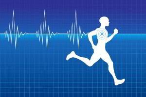 fondo azul con ilustración de un electrocardiograma y atleta corriendo en blanco