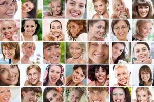 Mosaico con fotografias de rostros de mujeres