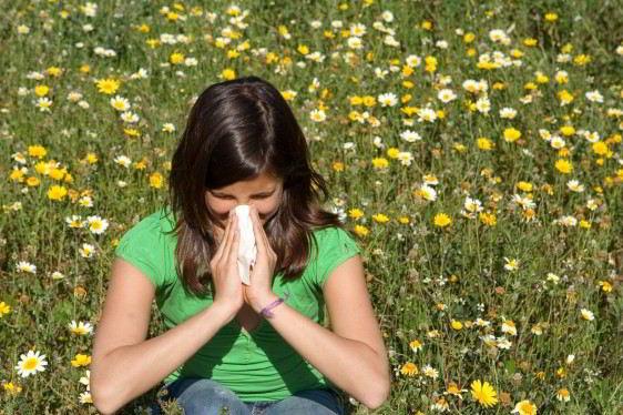 Niña con camisa verde, estornudando y sentada en un campo de flores