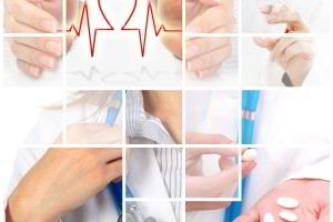 Imagenes de servicios médicos, mano con medicamentos, doctor tocando estetoscopio, manos con un simbolo de corazón