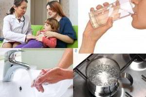 Mosaico de imagenes ir al doctor, lavarse las manos beber agua y gervir agua