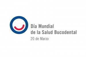 Circulo azul con sonria roja con texto Día Mundial de la Salud Bucodental 20 de marzo