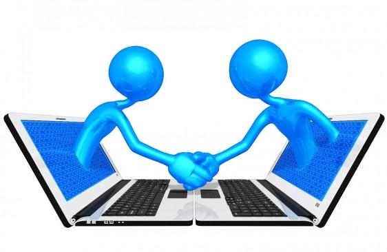 ilustración de dos computadoras notebooks miranose una a otra en la pantalla salen dos muñecos 3D que se saludan de mano