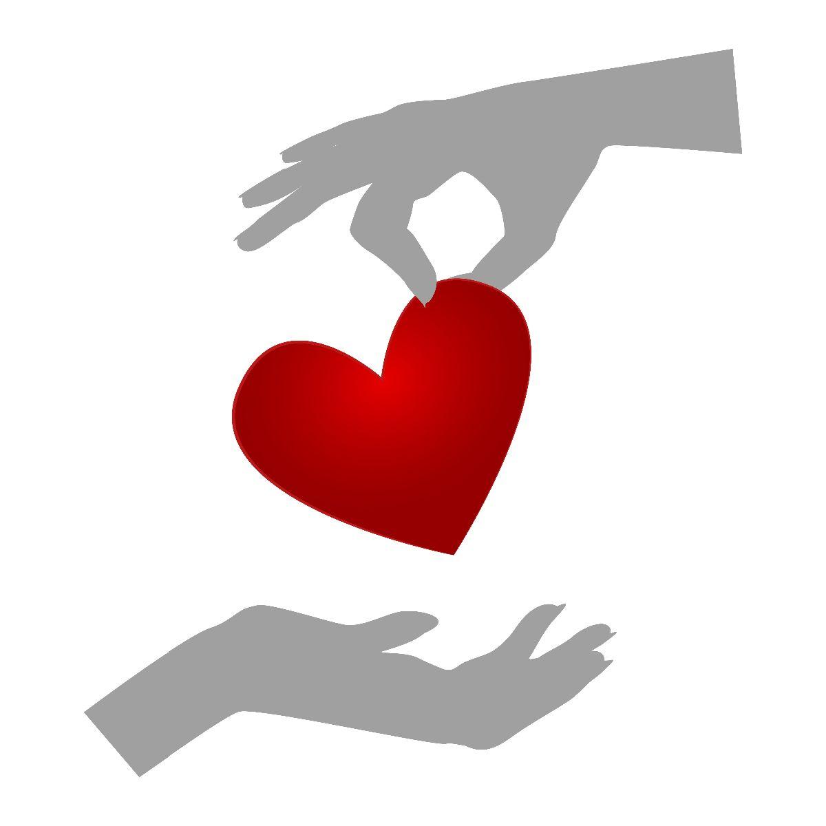 Ilustración una mano gris arriba dejando caer en otra mano gris un corazón rojo