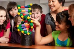 niñas y niños jugando con un modelo a escala de ADN