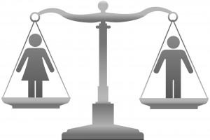balanza con icono de mujer en la izquierda y de hombre en la derecha