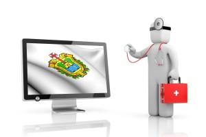 Ilustración de un doctor con una pantalla al lado que tiene la bandera con el ícono de estado de veracruz