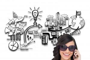 Acercamiento al rostro de una mujer en la esquina inferior derecha con lentes en el fondo ilustración de conceptos de ideas