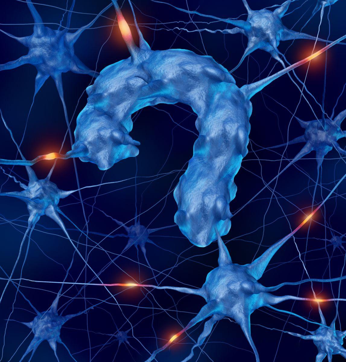 Neurona en forma de signo de interrogación en un fondo azil