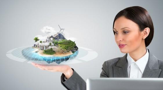 Mujer observando ilustración de un holograma de un mundo mejor