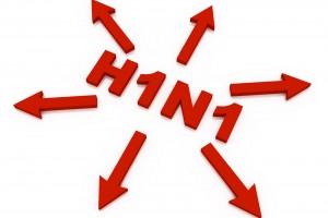 Palabra H1N1 en rojo con flechas hacia afuera
