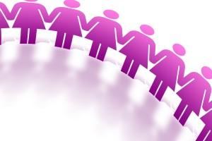ilustración de mujeres unidas por las manos