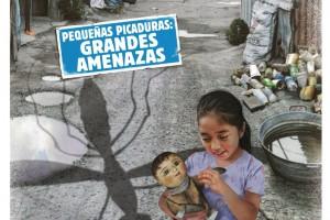 Cartel de la campaña con el texto Pequeñas picaduras, grandes amenazas y una niña sentada jgando con muñaca de trapo en un barrio pobre