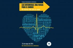 Flecha amarilla con texto LAS ENFERMERAS: UNA FUERZA PARA EL CAMBIO abajo un corazón con mosacio de letras con la palabra enfermera en distintos idiomas encima un pulso de corazón amaillo abajo 12 de mayo 2014
