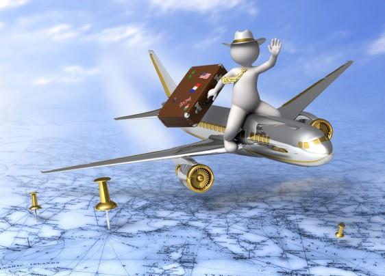 Ilustración de un hombre sentado arriba de un avión