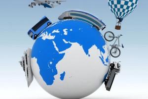 Mundo con avión barco camión tren bicicleta y globo