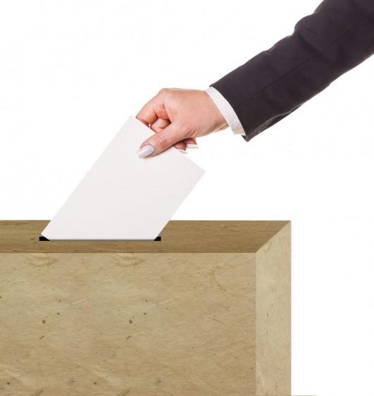 Brazo de na mujer depositando un papel en una urna