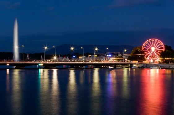 Geneva skyline by night