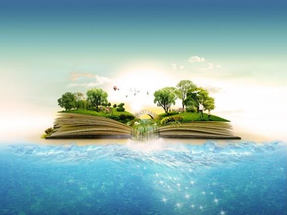 Paisaje del mar con un libro abierto con palmeras y plaz encima