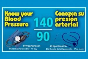 Anuncio con el texto Conozca su presión arterial 140/90