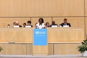 Christine Kaseba-Sata, Primera Dama de Zambia en un podium