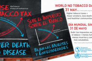 Cártel Día Mundial Sin Tabaco, sube el impuesto sobre el tabaco, bajan las muertes y enfermedades